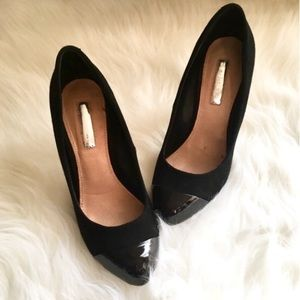 H by Halston Suede Leather Toe Charlotte Heels
